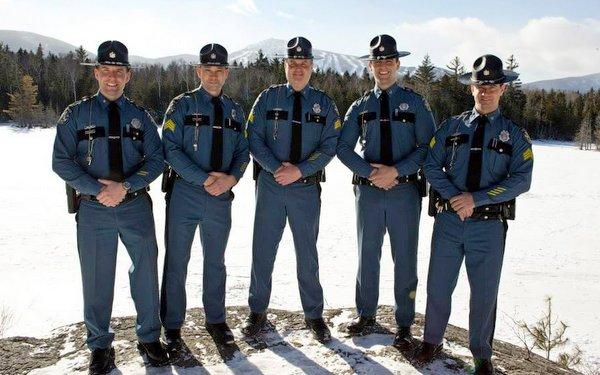 Trooper Aaron Turcotte, Sgt. Darren Foster, Sgt. Matt Casavant, Trooper Keith Barton and Sgt. Peter Michaud at Maine Special Olympics Sugarloaf 2010.