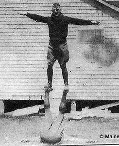 """1926 First Training Troop. Caption reads """"Calisthenics makes for husky Troopers"""""""