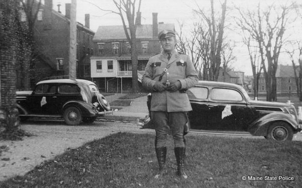 1937 Bangor Trooper Bill Hilchy with Chevy and Ford cruisers