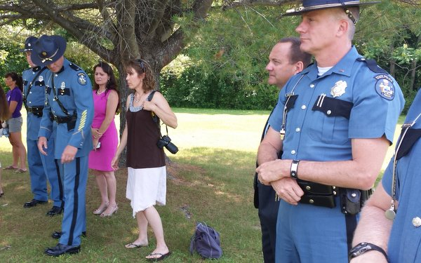 Maine State Troopers attend ceremony in Augusta, Maine at the dedication of the Memorial to Murdered Children in Maine.