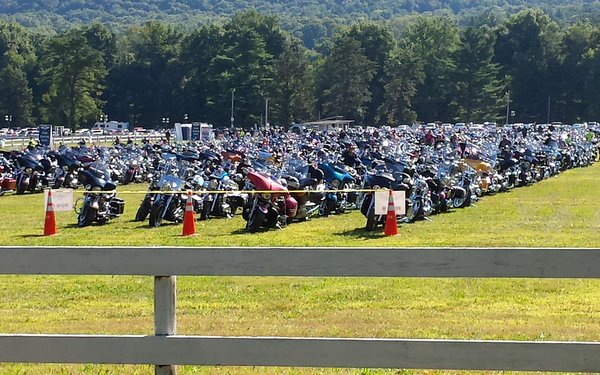 Motorcycles from all across United States at the 2014 Dream Ride in Farmington, CT.