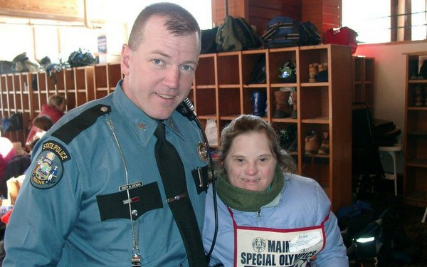 Maine Trooper Sgt. Matt Casavant with Maine Special Olympics Winter Games contestant 2010.