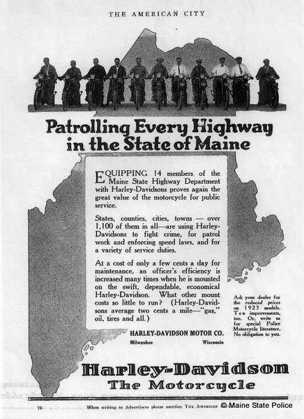 1923 Harley Davidson motorcycle advertisement featuring the Maine Highway Patrol