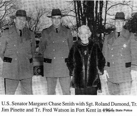 1964 - Troop F Troopers pose with Senator Margaret Chase Smith