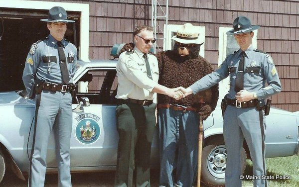 1982 - West Paris Maine Substation - Cpl Savage, Ranger Hill, Smoky the Bear, Sgt. Smith 81 Chevy Mailbu