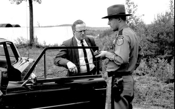 Aug 1964-Det. Russ Bruton and Trooper Blaine Jardine investigate at Oxford Plains Speedway, Maine
