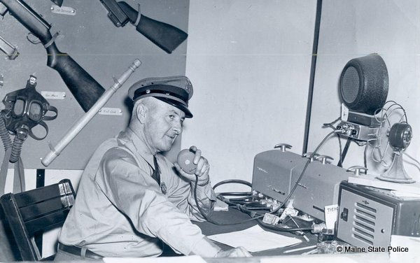 "Early 1940s-Trooper Harold Carson shows ""state of the art radios"" at Skowhegan Fair"