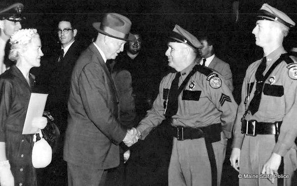 June 1955-Sgt. KenTwitchell and Tr. Bud Kneeland meet President Dwight D. Eisenhower in Skowhegan