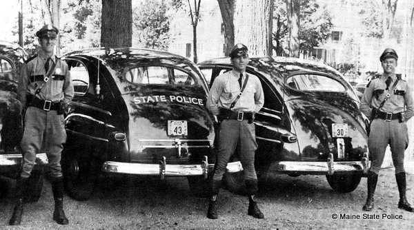 May 1946- Maine Troopers Milligam, Boudreau and Mansell at Showhegan Co. Courtyard Troop C