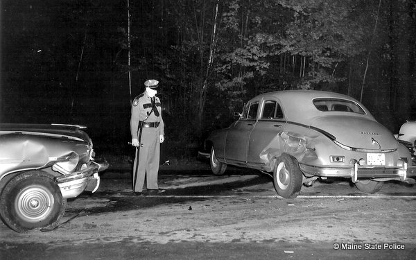 Trooper Millard Nickerson investigates crash on Route 201 in Vassalboro, ME.