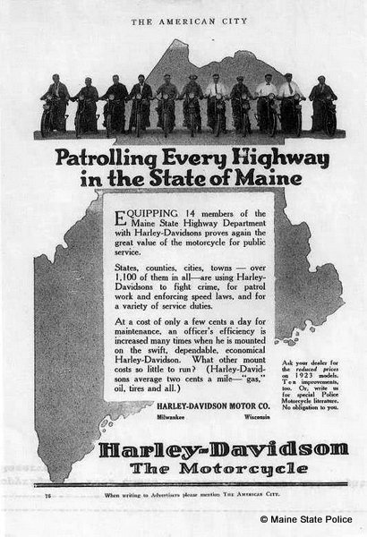 1923 Harley Davidson motorcycle ad with Maine Highway Patrol