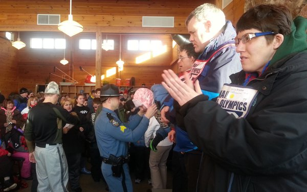 Maine State Police Troopers assist at the 2015 Maine Special Olympics Winter Games at Sugarloaf USA.