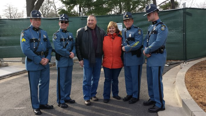Maine State Police Sgt. Michael Field-Trooper Trevor Snow-Maine Governor Paul LePage and wife Ann-Lt. Mark Brooks-Trooper Steve Morrill at Wreaths Across America at Arlington National Cemetery.