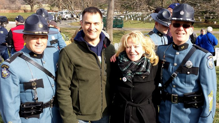 Maine State Police Lt. Mark Brooks - Trooper Kyle Willette (civilian clothes) - Karen Worcester- Trooper Trevor Snow