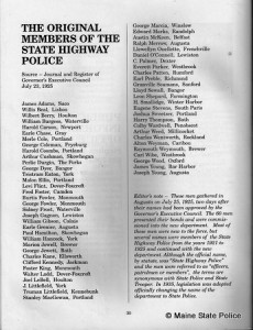 List of the First Maine State Troopers