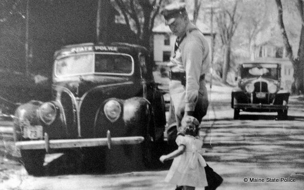 1938 Summer Old Town, Maine-Trooper Bill Hilchie and daughter Noni in Highway Safety Photo