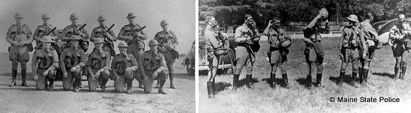1941 Maine Troopers work with gas masks and tear gas riot control training