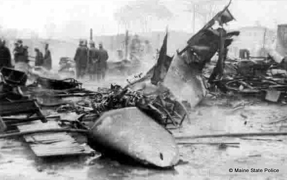 1944 - Troopers on scene after US Army Bomber crashes into a trailer park in South Portland, killing 19