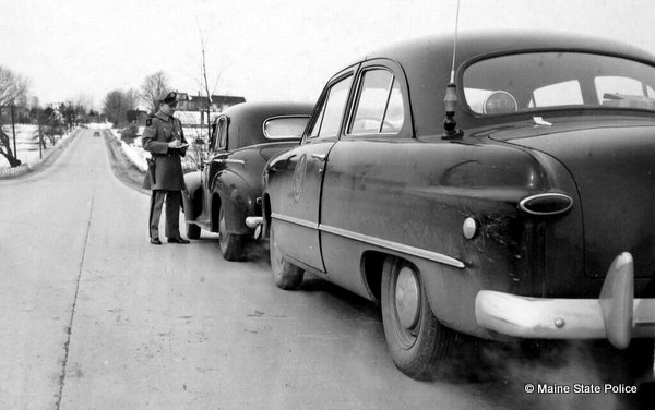 1950s Maine Trooper Lloyd Leighton traffic stop. 1948 Ford Cruiser, violator is 41 Chevy