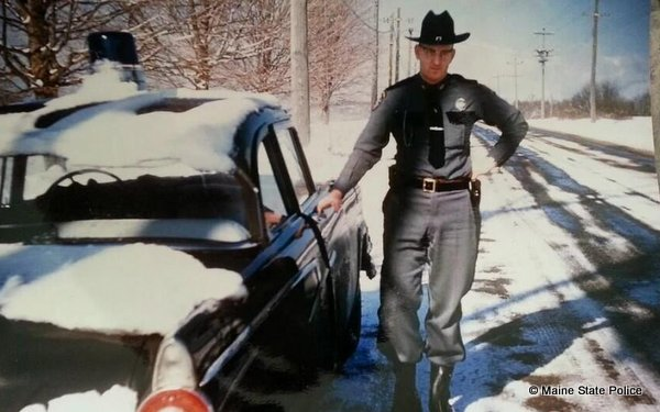 "1956 Ford - Maine Trooper Vincent ""Bud ""Donnell. First year for roof mounted blue lights on Maine State police cruisers."