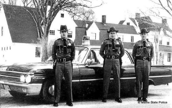 1960-Bridgton ME. Troopers Ray Curtis, Harry Hanson, Jerald Boutilier