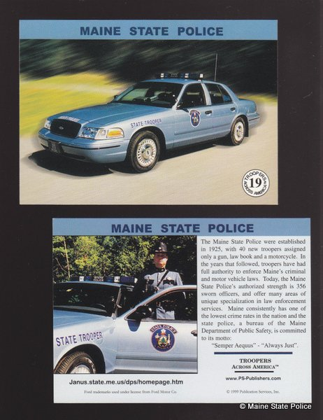 1999 - Maine State Police-Trading Card-Troopers Across America series