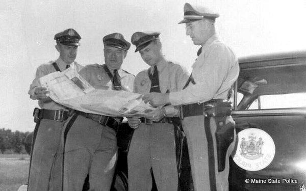 Early 50s-Maine Troopers Dick Kelly, Steve Regina, Jimmy Adams, Herb Mariner 1952 Ford