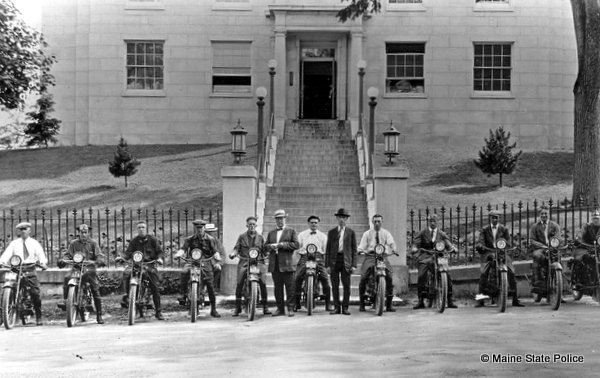 1922 - Members of the Maine Highway Patrol with Harley Davidson motorcycles