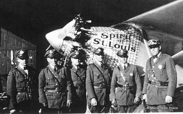 1927 - Spirit of St. Louis lands at Old Orchard Beach, ME. Troopers Sewall, Seamans,  Hancock, Wibe, Door, and Stevens