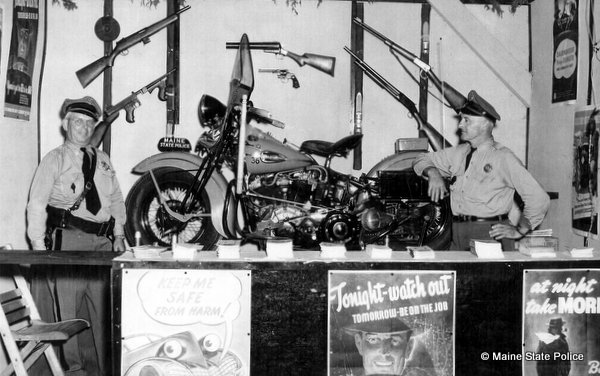 Trp. Sherman Hallowell Harold Carson promo booth 1942 Harley Davidson