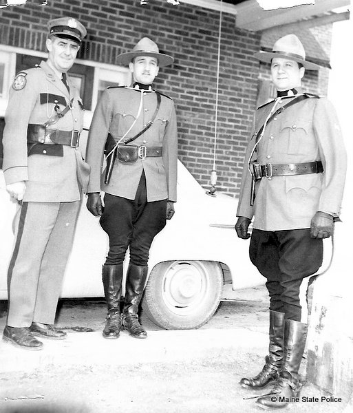 Maine State Trooper Otis Labree wtih two Royal Canadian Mounted Police (RCMP)