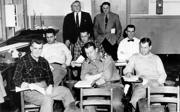 Feb. 1955-First MSP Bureau of Criminal Investigation FRONT ROW L-R Otis Labree (Troop F), Millard Nickerson Jr.(C), Fred Ladd(B) SECOND ROW L-R Emery McIntyre(E), Bud Burgoyne(A), James Milligan(D) STANDING Sgt. Parker Hennesey and Lt. Lloyd Hoxie