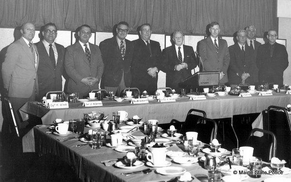1970-Maine State Police administration Sgt. Ken Wing, Capt. Emery McIntyre, Maj Bernie Holdsworth, Lt Col. Ken Wood, Capt Millard Nickerson, Col Parker Hennesey, Lt Col. Don Nichols, Capt Emery Jordan, Lt. Francis Woodhead, Lt. Vincent Donnell