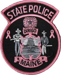 Pink Themed Maine State Police Patch.